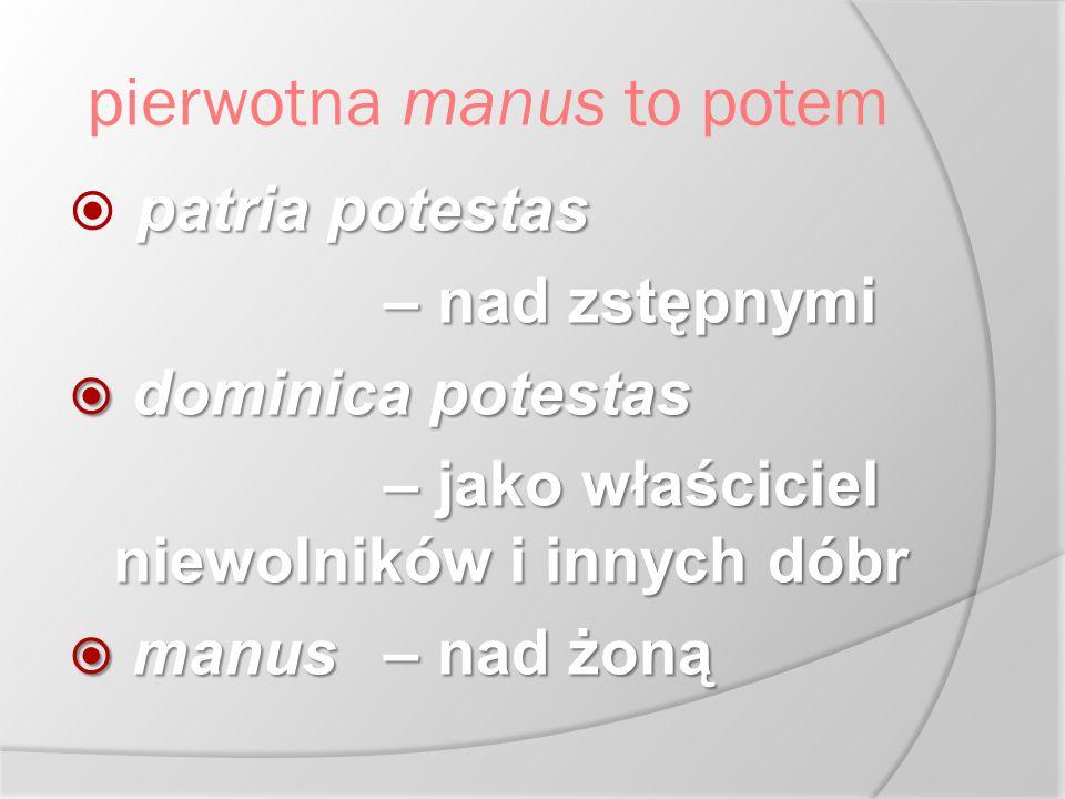 pierwotna manus to potem patria potestas  patria potestas – nad zstępnymi  dominica potestas – jako właściciel niewolników i innych dóbr  manus – n
