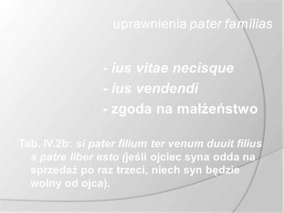 uprawnienia pater familias - ius vitae necisque - ius vendendi - zgoda na małżeństwo Tab. IV.2b: si pater filium ter venum duuit filius a patre liber