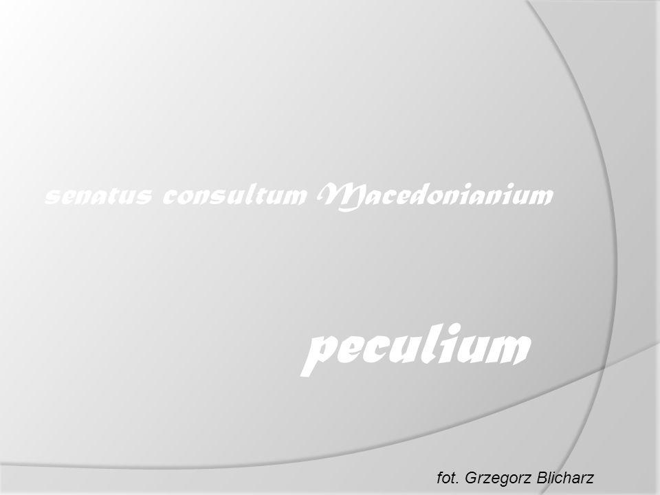 senatus consultum Macedonianium peculium fot. Grzegorz Blicharz