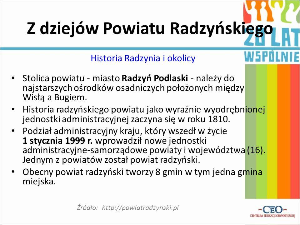 Z dziejów Powiatu Radzyńskiego Historia Radzynia i okolicy Stolica powiatu - miasto Radzyń Podlaski - należy do najstarszych ośrodków osadniczych poło