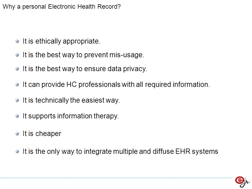 Why a personal Electronic Health Record. It is ethically appropriate.