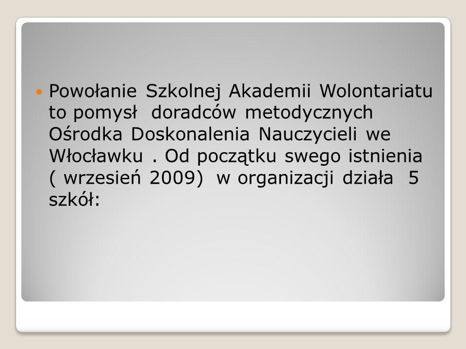 Powołanie Szkolnej Akademii Wolontariatu to pomysł doradców metodycznych Ośrodka Doskonalenia Nauczycieli we Włocławku. Od początku swego istnienia (