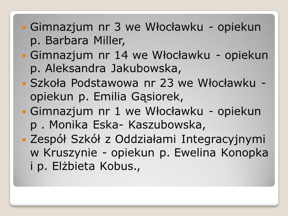 Gimnazjum nr 3 we Włocławku - opiekun p. Barbara Miller, Gimnazjum nr 14 we Włocławku - opiekun p. Aleksandra Jakubowska, Szkoła Podstawowa nr 23 we W