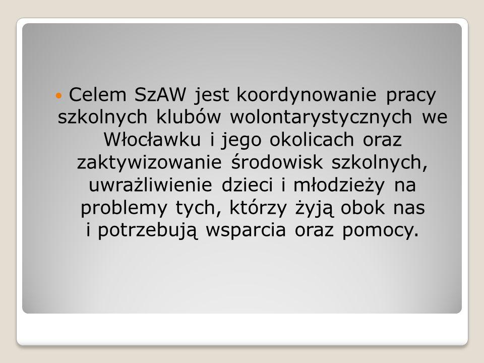 Celem SzAW jest koordynowanie pracy szkolnych klubów wolontarystycznych we Włocławku i jego okolicach oraz zaktywizowanie środowisk szkolnych, uwrażli