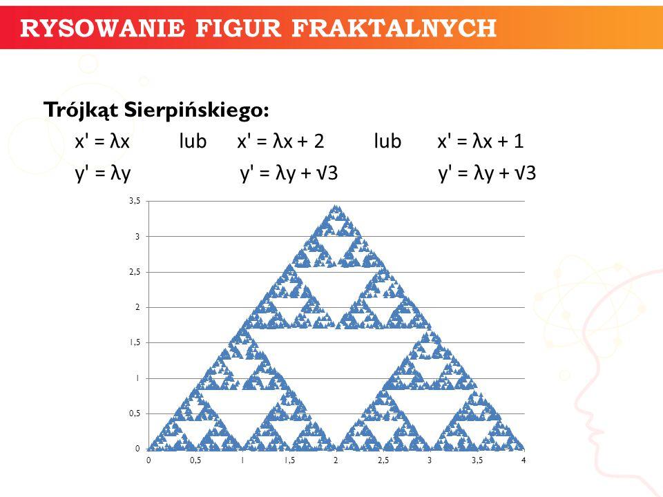 Trójkąt Sierpińskiego: x' = λx lub x' = λx + 2 lub x' = λx + 1 y' = λy y' = λy + √3 y' = λy + √3 informatyka + 9 RYSOWANIE FIGUR FRAKTALNYCH