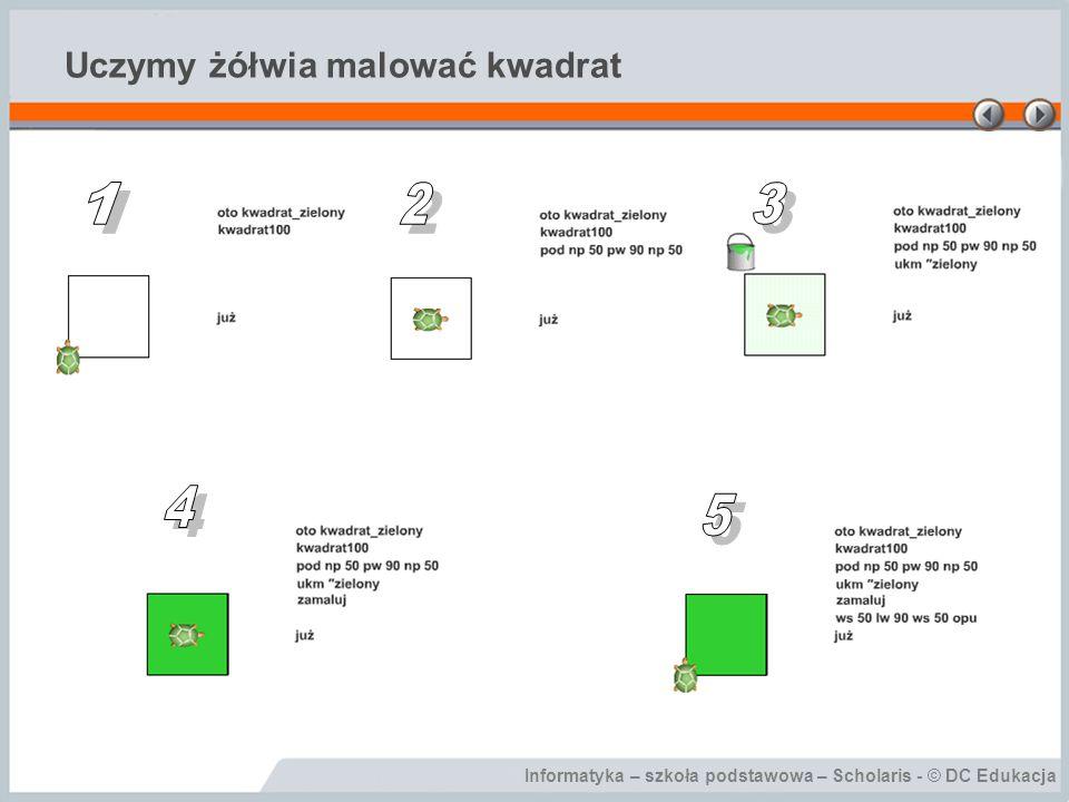 Informatyka – szkoła podstawowa – Scholaris - © DC Edukacja Uczymy żółwia malować kwadrat