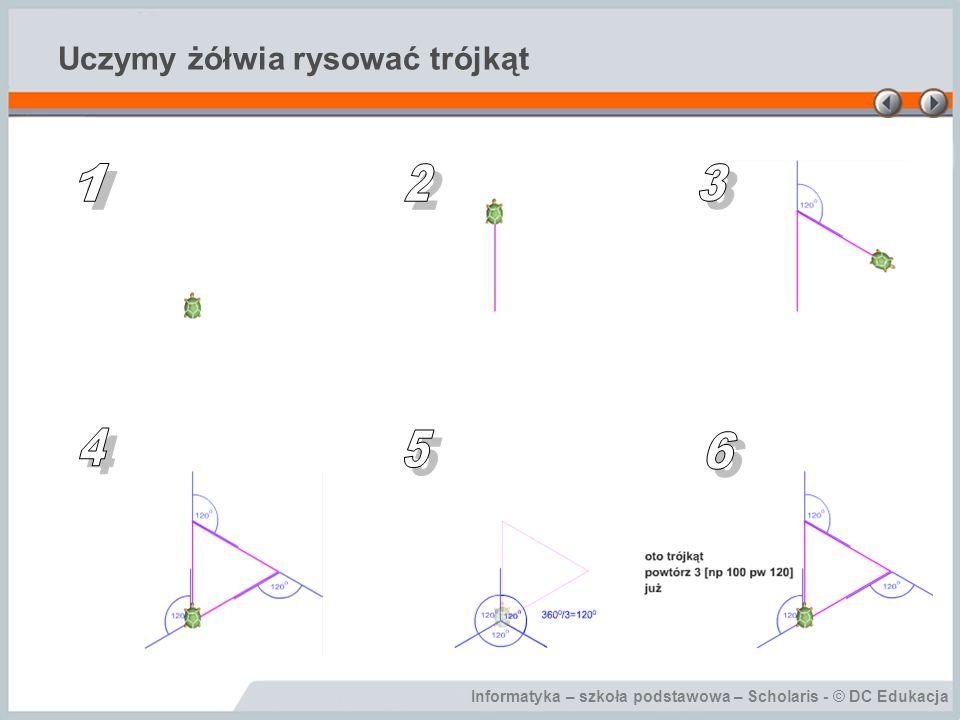 Informatyka – szkoła podstawowa – Scholaris - © DC Edukacja Uczymy żółwia rysować trójkąt