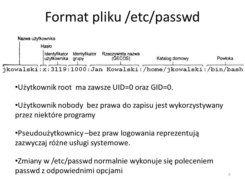 Format pliku /etc/passwd 6 Użytkownik root ma zawsze UID=0 oraz GID=0.