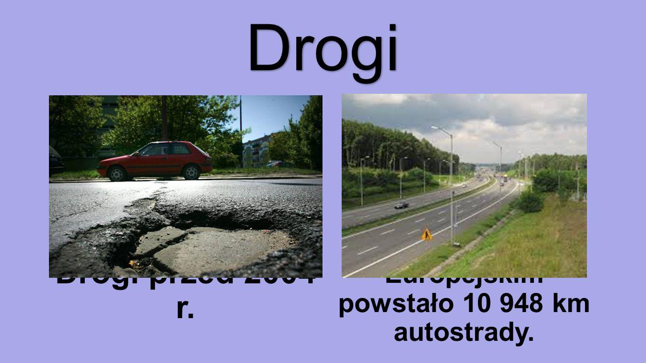 Drogi Drogi przed 2004 r. Dzięki funduszom Europejskim powstało 10 948 km autostrady.