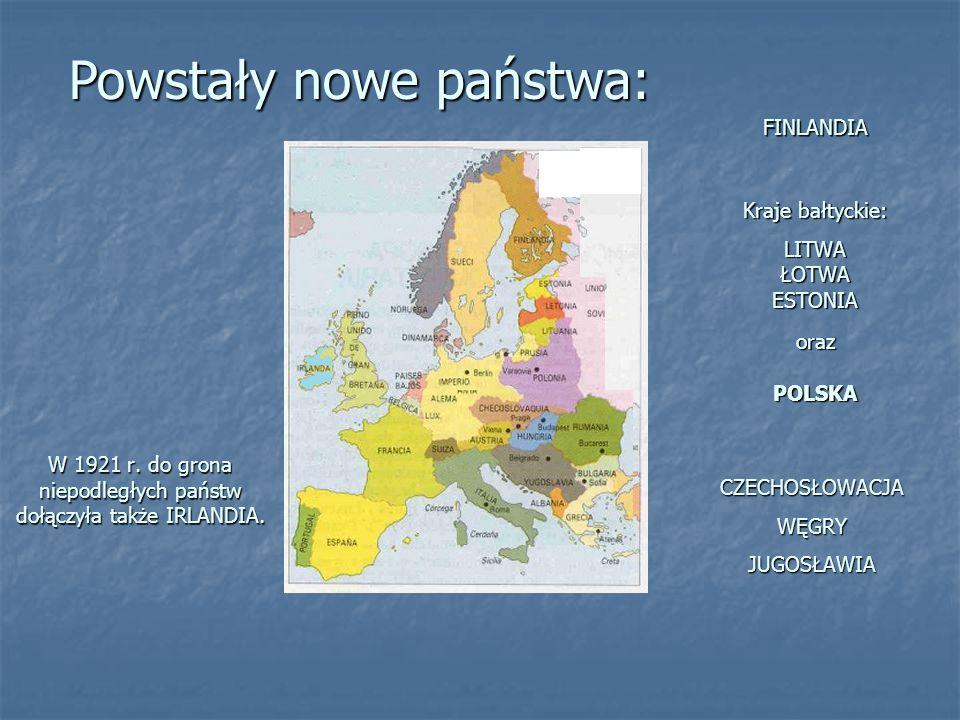 W 1921 r. do grona niepodległych państw dołączyła także IRLANDIA. FINLANDIA Kraje bałtyckie: LITWA ŁOTWA ESTONIA oraz POLSKA CZECHOSŁOWACJA WĘGRY JUGO