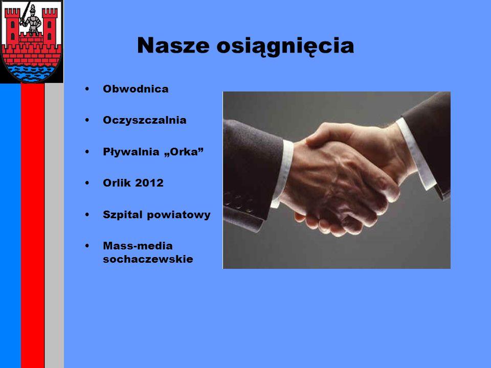 """Nasze osiągnięcia Obwodnica Oczyszczalnia Pływalnia """"Orka Orlik 2012 Szpital powiatowy Mass-media sochaczewskie"""