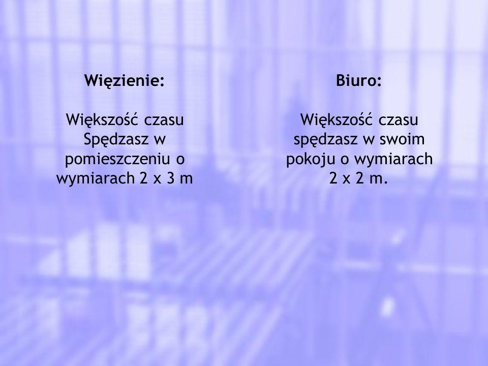 Więzienie: Większość czasu Spędzasz w pomieszczeniu o wymiarach 2 x 3 m Biuro: Większość czasu spędzasz w swoim pokoju o wymiarach 2 x 2 m.