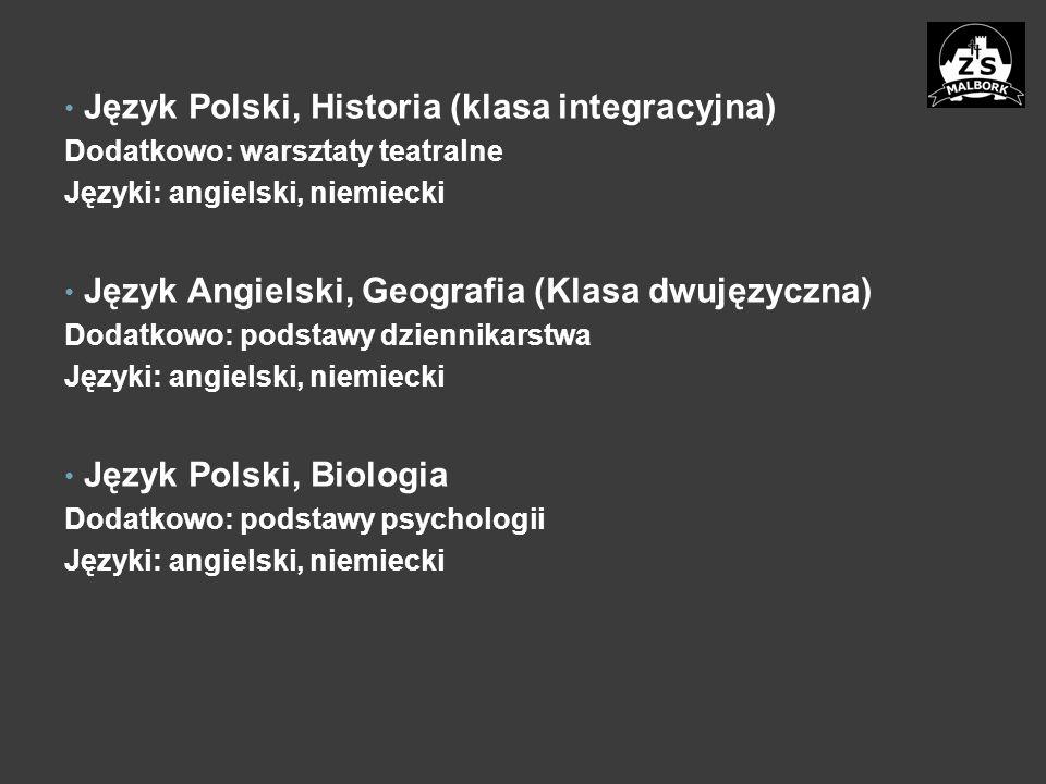 Język Polski, Historia (klasa integracyjna) Dodatkowo: warsztaty teatralne Języki: angielski, niemiecki Język Angielski, Geografia (Klasa dwujęzyczna) Dodatkowo: podstawy dziennikarstwa Języki: angielski, niemiecki Język Polski, Biologia Dodatkowo: podstawy psychologii Języki: angielski, niemiecki