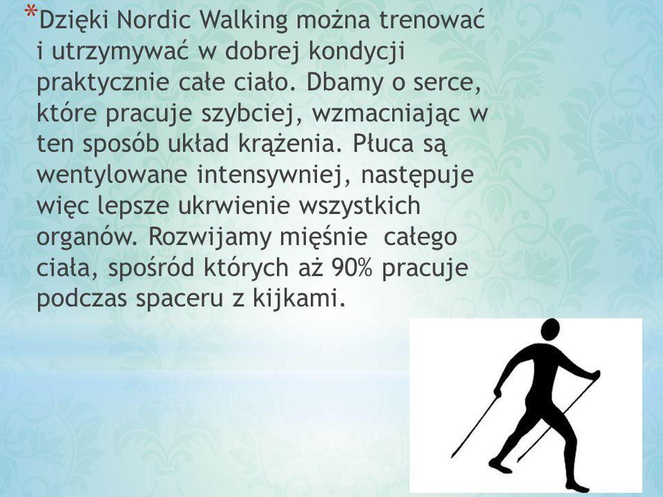 * Praktykując Nordic Walking, można zdecydować się na trening łagodny, który daje odprężenie, bądź trening dynamiczny, który poprawia kondycję fizyczną i ćwiczy nasze mięśnie.