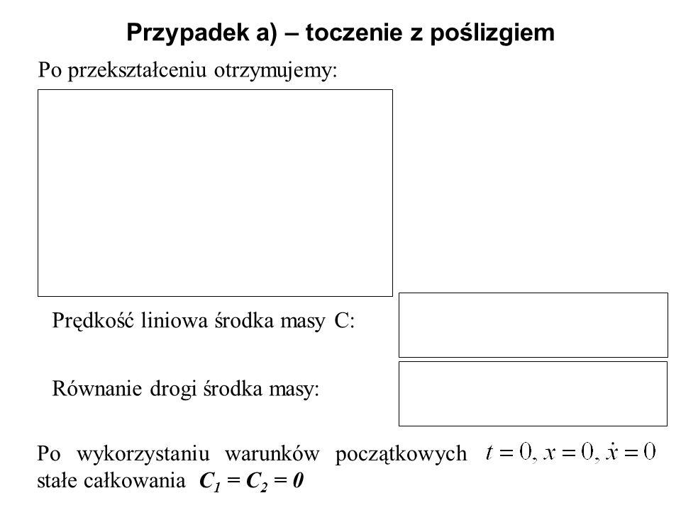 Po przekształceniu otrzymujemy: Przypadek a) – toczenie z poślizgiem Równanie drogi środka masy: Prędkość liniowa środka masy C: Po wykorzystaniu waru