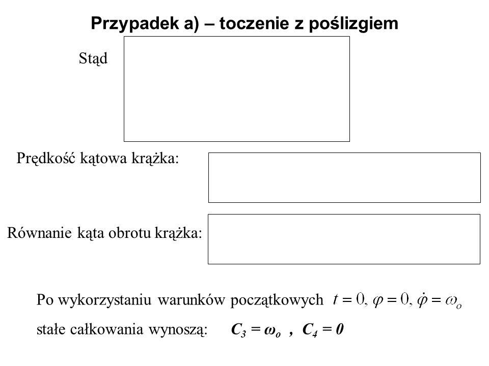 Stąd Przypadek a) – toczenie z poślizgiem Prędkość kątowa krążka: Równanie kąta obrotu krążka: Po wykorzystaniu warunków początkowych stałe całkowania
