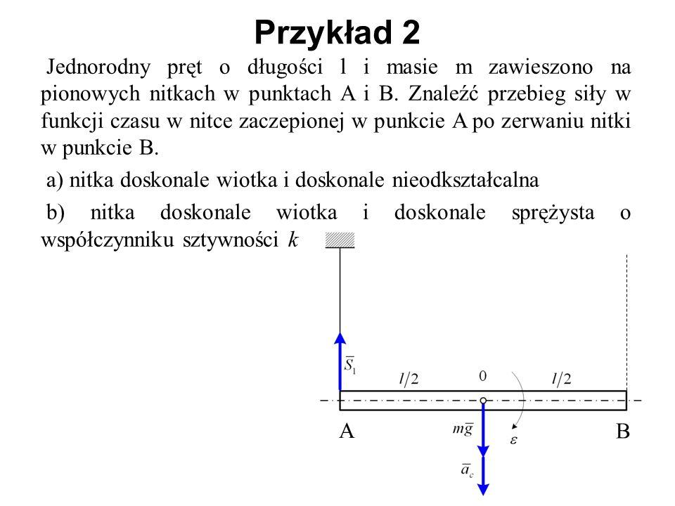 Jednorodny pręt o długości l i masie m zawieszono na pionowych nitkach w punktach A i B. Znaleźć przebieg siły w funkcji czasu w nitce zaczepionej w p
