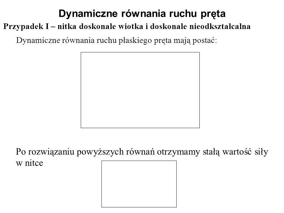 Przypadek I – nitka doskonale wiotka i doskonale nieodkształcalna Dynamiczne równania ruchu pręta Dynamiczne równania ruchu płaskiego pręta mają posta