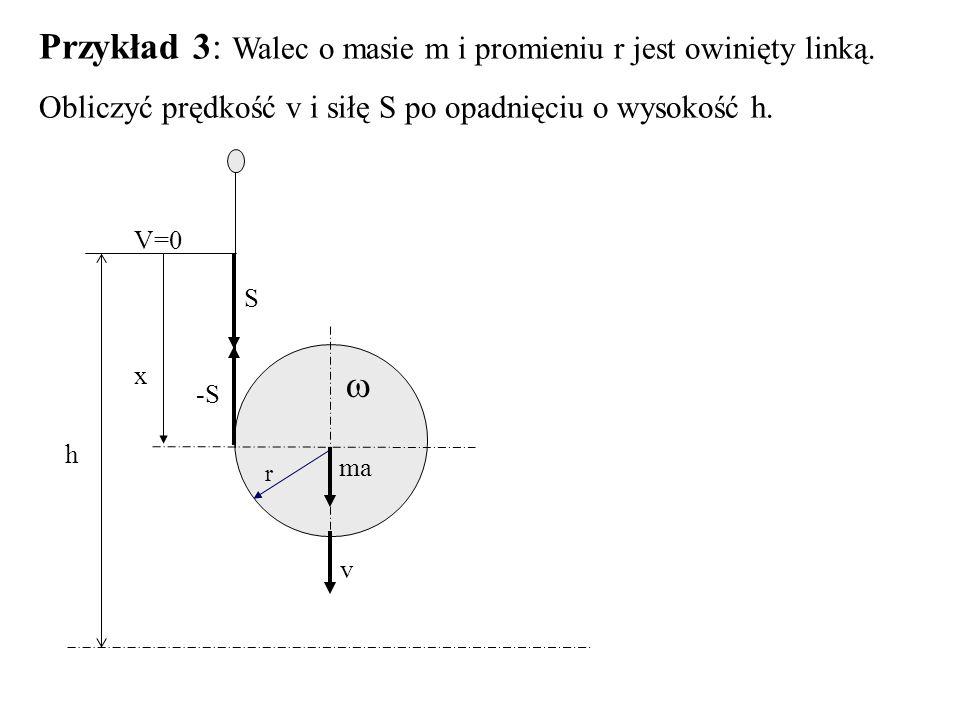 Przykład 3: Walec o masie m i promieniu r jest owinięty linką. Obliczyć prędkość v i siłę S po opadnięciu o wysokość h.  ma v S -S h x V=0 r