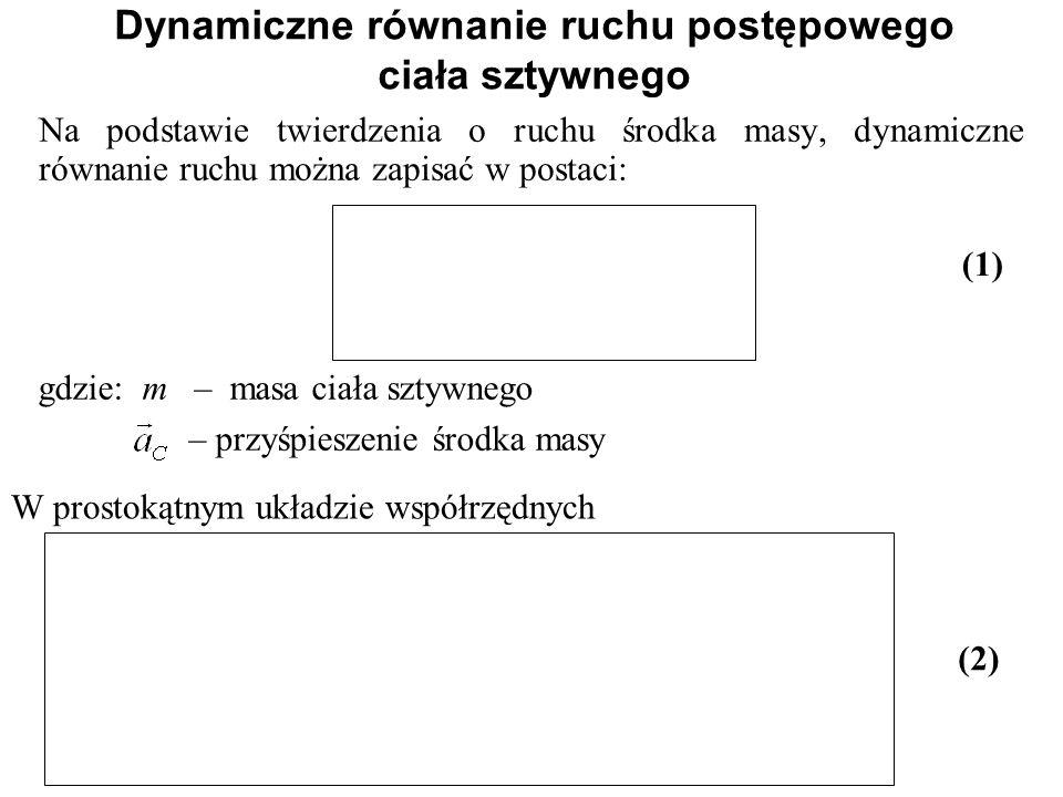 Dynamiczne równanie ruchu postępowego ciała sztywnego Na podstawie twierdzenia o ruchu środka masy, dynamiczne równanie ruchu można zapisać w postaci:
