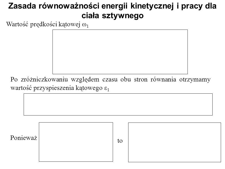 Wartość prędkości kątowej ω 1 Zasada równoważności energii kinetycznej i pracy dla ciała sztywnego Po zróżniczkowaniu względem czasu obu stron równani