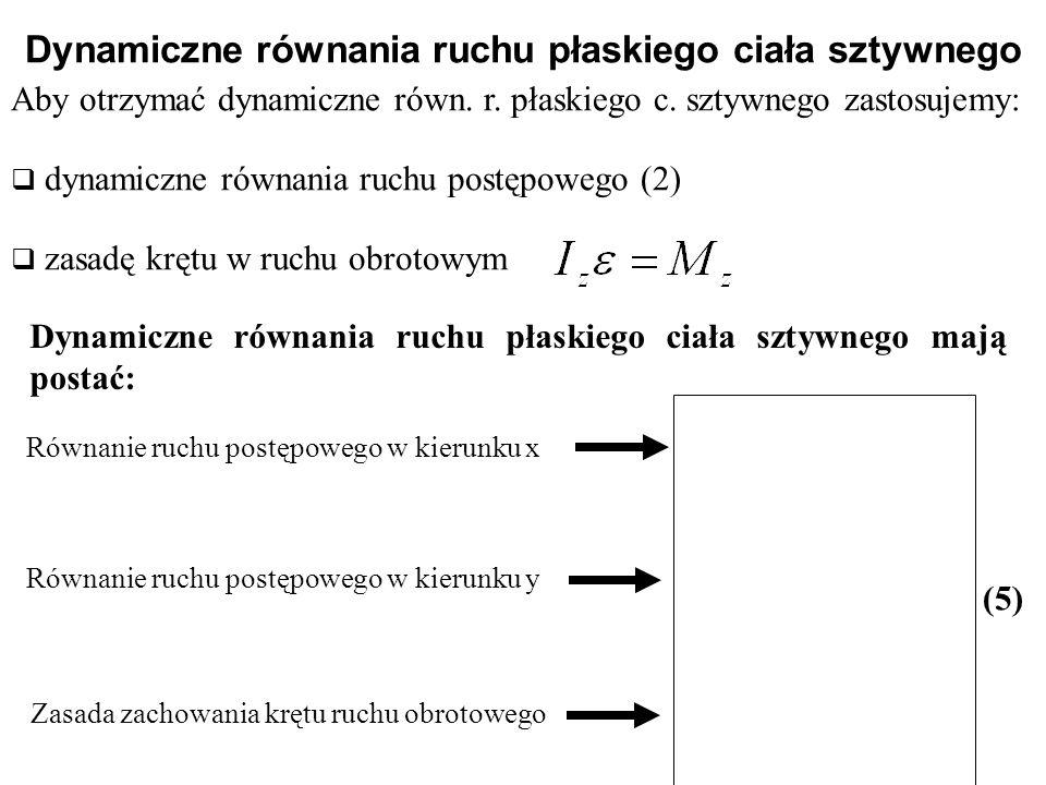 Aby otrzymać dynamiczne równ. r. płaskiego c. sztywnego zastosujemy:  dynamiczne równania ruchu postępowego (2)  zasadę krętu w ruchu obrotowym Dyna