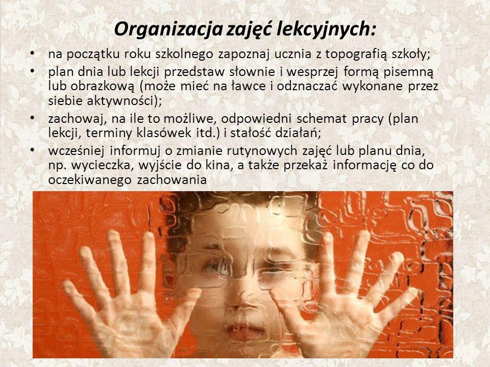 Organizacja zajęć lekcyjnych: na początku roku szkolnego zapoznaj ucznia z topografią szkoły; plan dnia lub lekcji przedstaw słownie i wesprzej formą