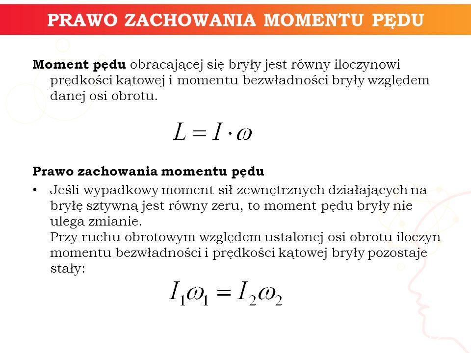 informatyka + 12 PRAWO ZACHOWANIA MOMENTU PĘDU Moment pędu obracającej się bryły jest równy iloczynowi prędkości kątowej i momentu bezwładności bryły