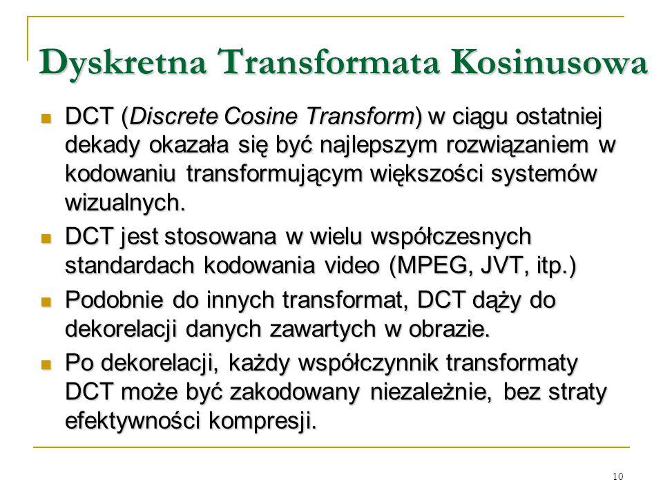 10 Dyskretna Transformata Kosinusowa Dyskretna Transformata Kosinusowa DCT (Discrete Cosine Transform) w ciągu ostatniej dekady okazała się być najlep
