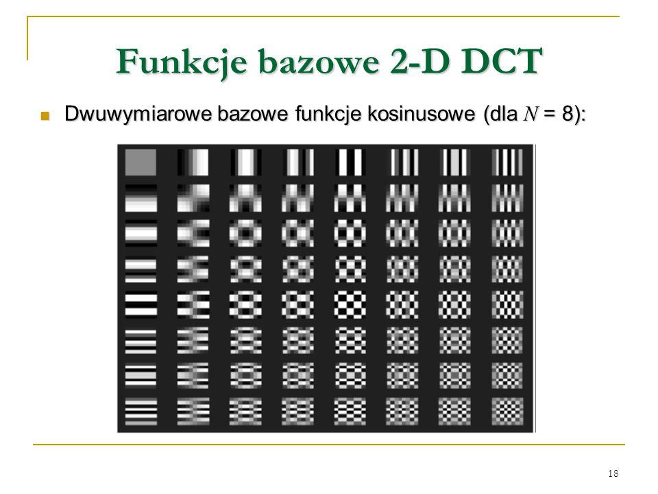 18 Funkcje bazowe 2-D DCT Dwuwymiarowe bazowe funkcje kosinusowe (dla N = 8): Dwuwymiarowe bazowe funkcje kosinusowe (dla N = 8):