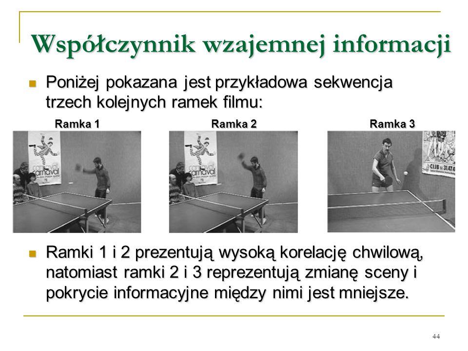 44 Współczynnik wzajemnej informacji Poniżej pokazana jest przykładowa sekwencja trzech kolejnych ramek filmu: Poniżej pokazana jest przykładowa sekwe