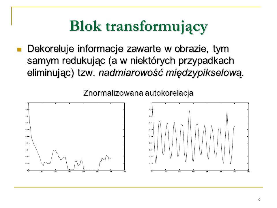 6 Blok transformujący Dekoreluje informacje zawarte w obrazie, tym samym redukując (a w niektórych przypadkach eliminując) tzw. nadmiarowość międzypik