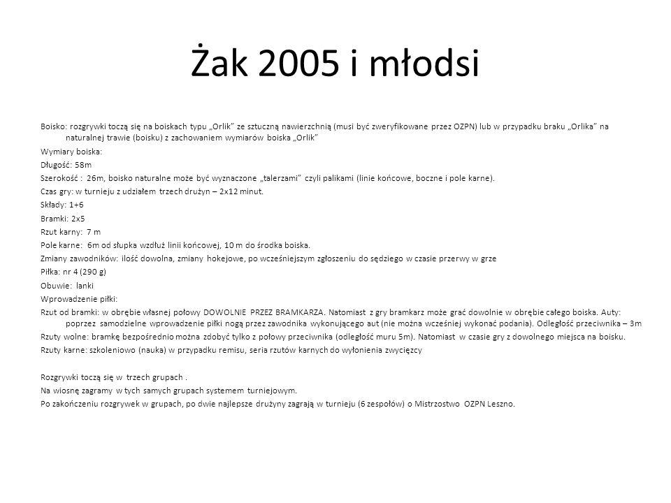 """Żak 2005 i młodsi Boisko: rozgrywki toczą się na boiskach typu """"Orlik"""" ze sztuczną nawierzchnią (musi być zweryfikowane przez OZPN) lub w przypadku br"""