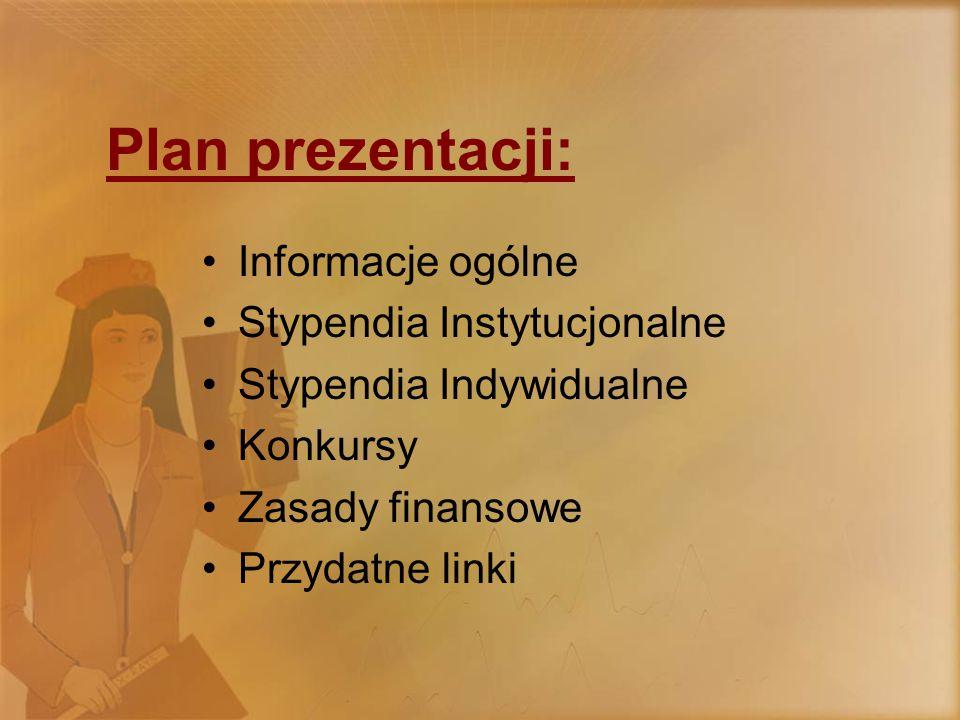 Plan prezentacji: Informacje ogólne Stypendia Instytucjonalne Stypendia Indywidualne Konkursy Zasady finansowe Przydatne linki