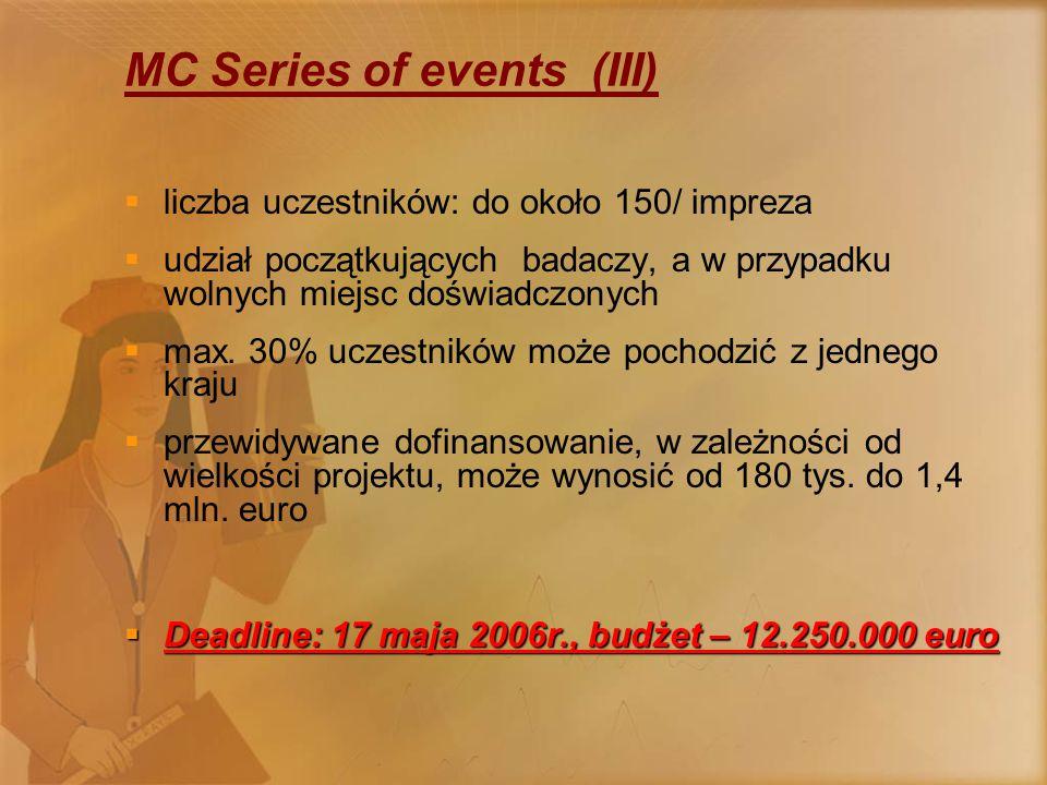 MC Series of events (III)  liczba uczestników: do około 150/ impreza  udział początkujących badaczy, a w przypadku wolnych miejsc doświadczonych  max.