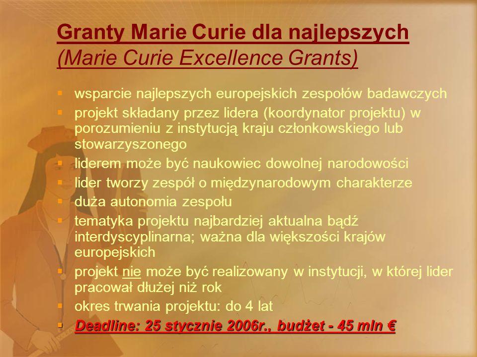 Granty Marie Curie dla najlepszych (Marie Curie Excellence Grants)  wsparcie najlepszych europejskich zespołów badawczych  projekt składany przez lidera (koordynator projektu) w porozumieniu z instytucją kraju członkowskiego lub stowarzyszonego  liderem może być naukowiec dowolnej narodowości  lider tworzy zespół o międzynarodowym charakterze  duża autonomia zespołu  tematyka projektu najbardziej aktualna bądź interdyscyplinarna; ważna dla większości krajów europejskich  projekt nie może być realizowany w instytucji, w której lider pracował dłużej niż rok  okres trwania projektu: do 4 lat  Deadline: 25 stycznie 2006r., budżet - 45 mln €