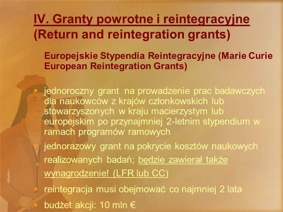 IV. Granty powrotne i reintegracyjne (Return and reintegration grants) Europejskie Stypendia Reintegracyjne (Marie Curie European Reintegration Grants