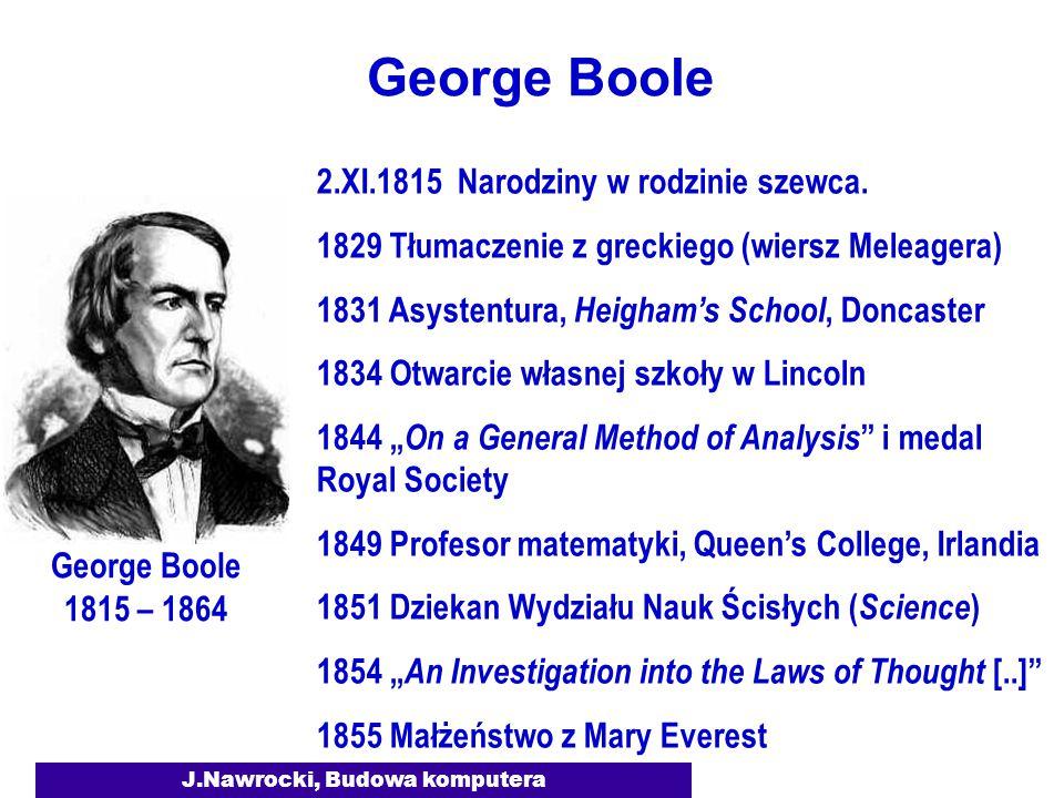 J.Nawrocki, Budowa komputera George Boole 2.XI.1815 Narodziny w rodzinie szewca. 1829 Tłumaczenie z greckiego (wiersz Meleagera) 1831 Asystentura, Hei