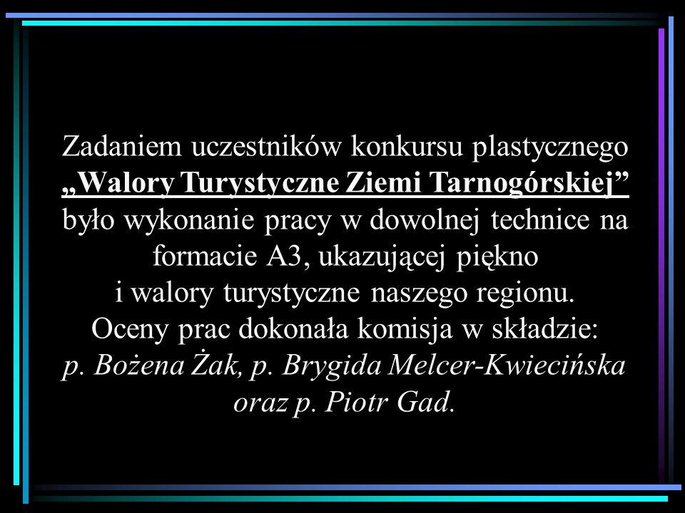 """Zadaniem uczestników konkursu plastycznego """"Walory Turystyczne Ziemi Tarnogórskiej"""" było wykonanie pracy w dowolnej technice na formacie A3, ukazujące"""
