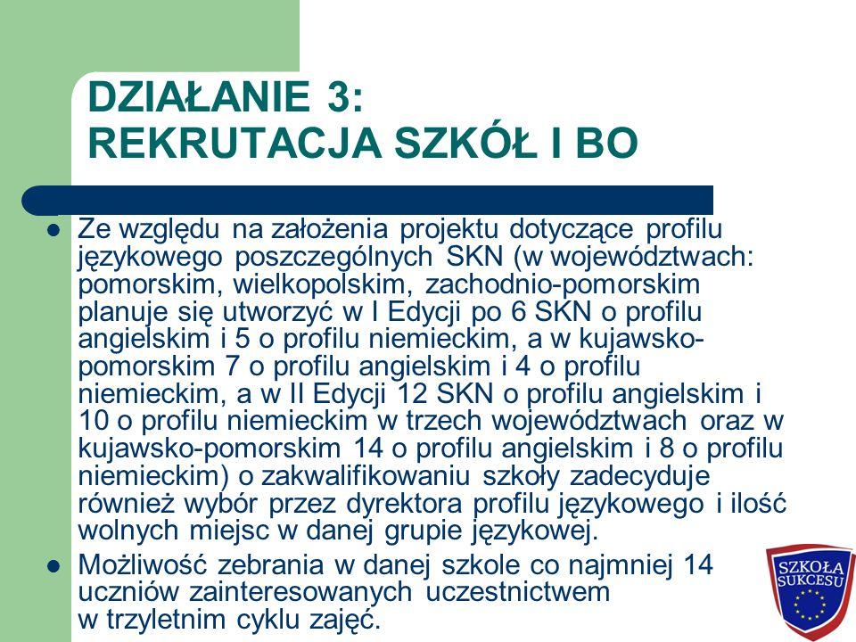 DZIAŁANIE 3: REKRUTACJA SZKÓŁ I BO Ze względu na założenia projektu dotyczące profilu językowego poszczególnych SKN (w województwach: pomorskim, wielk