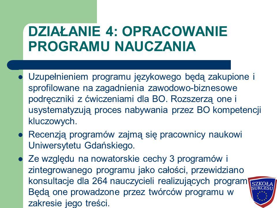 DZIAŁANIE 4: OPRACOWANIE PROGRAMU NAUCZANIA Uzupełnieniem programu językowego będą zakupione i sprofilowane na zagadnienia zawodowo-biznesowe podręczn