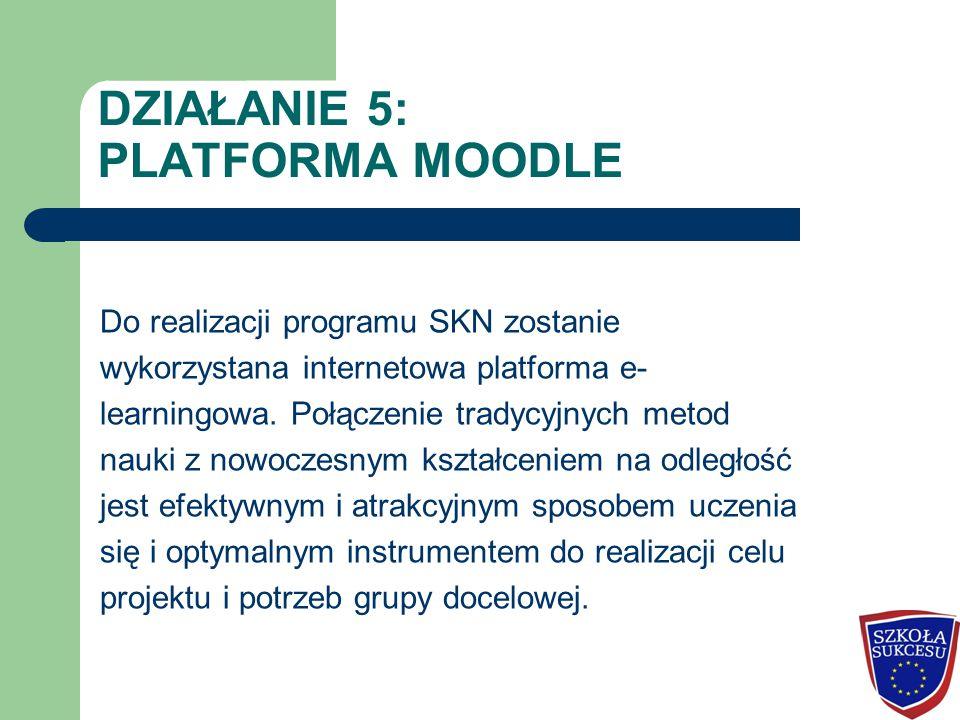 DZIAŁANIE 5: PLATFORMA MOODLE Do realizacji programu SKN zostanie wykorzystana internetowa platforma e- learningowa. Połączenie tradycyjnych metod nau