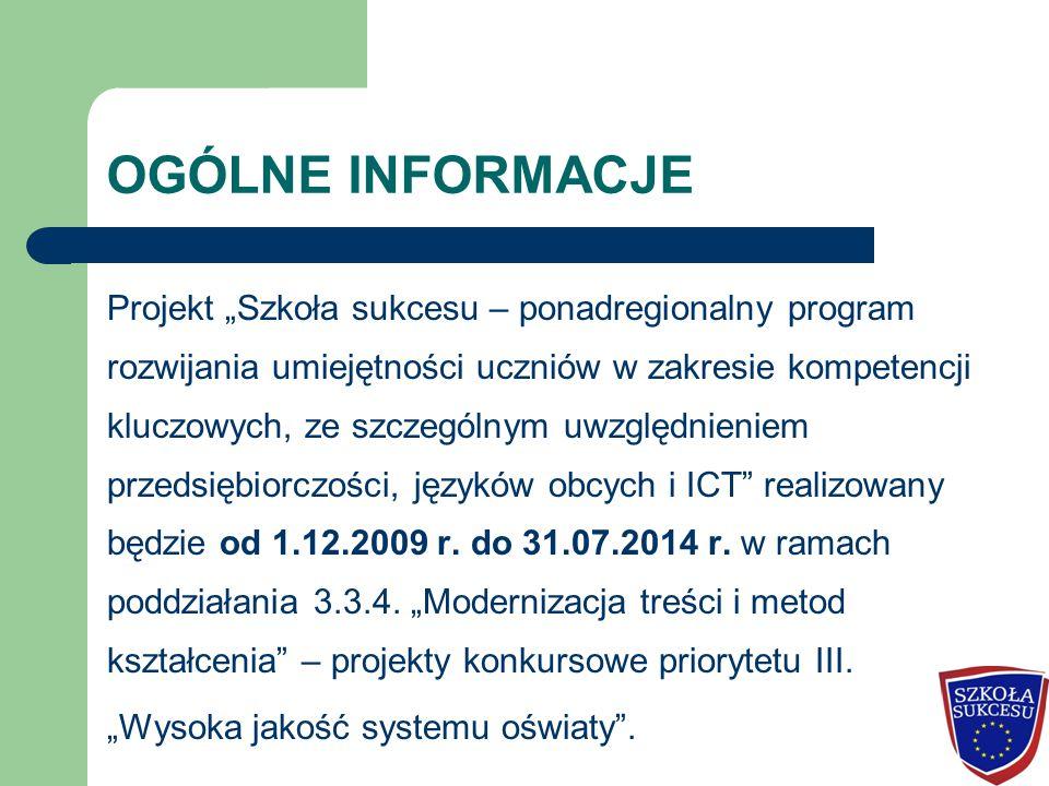 """OGÓLNE INFORMACJE Projekt """"Szkoła sukcesu – ponadregionalny program rozwijania umiejętności uczniów w zakresie kompetencji kluczowych, ze szczególnym uwzględnieniem przedsiębiorczości, języków obcych i ICT realizowany będzie od 1.12.2009 r."""