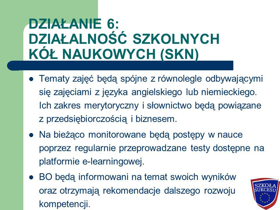 DZIAŁANIE 6: DZIAŁALNOŚĆ SZKOLNYCH KÓŁ NAUKOWYCH (SKN) Tematy zajęć będą spójne z równolegle odbywającymi się zajęciami z języka angielskiego lub niemieckiego.