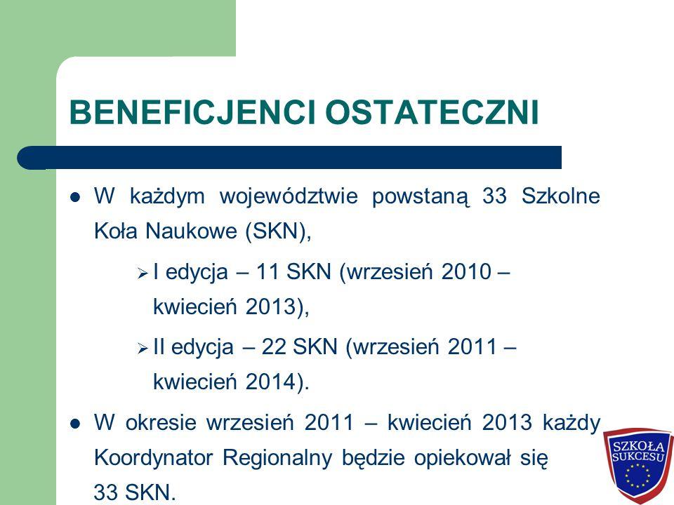 BENEFICJENCI OSTATECZNI W każdym województwie powstaną 33 Szkolne Koła Naukowe (SKN),  I edycja – 11 SKN (wrzesień 2010 – kwiecień 2013),  II edycja