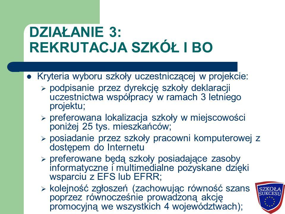 DZIAŁANIE 3: REKRUTACJA SZKÓŁ I BO Kryteria wyboru szkoły uczestniczącej w projekcie:  podpisanie przez dyrekcję szkoły deklaracji uczestnictwa współ