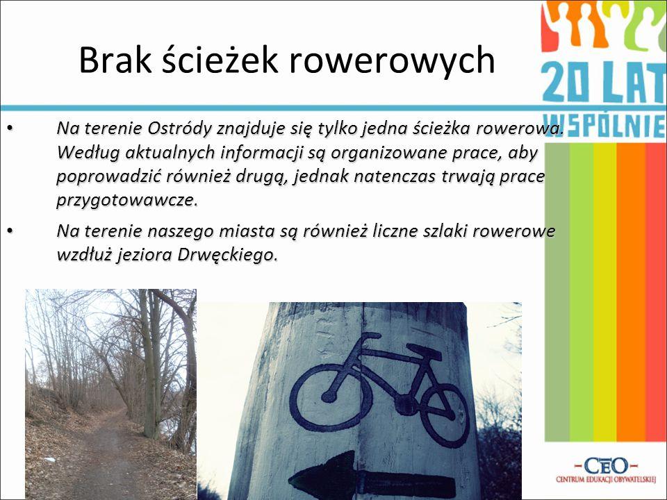 Brak ścieżek rowerowych Na terenie Ostródy znajduje się tylko jedna ścieżka rowerowa.