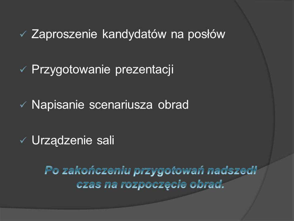 Zaproszenie kandydatów na posłów Przygotowanie prezentacji Napisanie scenariusza obrad Urządzenie sali