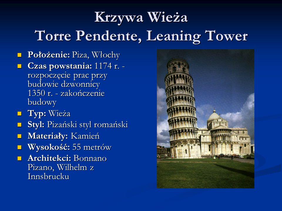 Krzywa Wieża Torre Pendente, Leaning Tower Położenie: Piza, Włochy Położenie: Piza, Włochy Czas powstania: 1174 r.