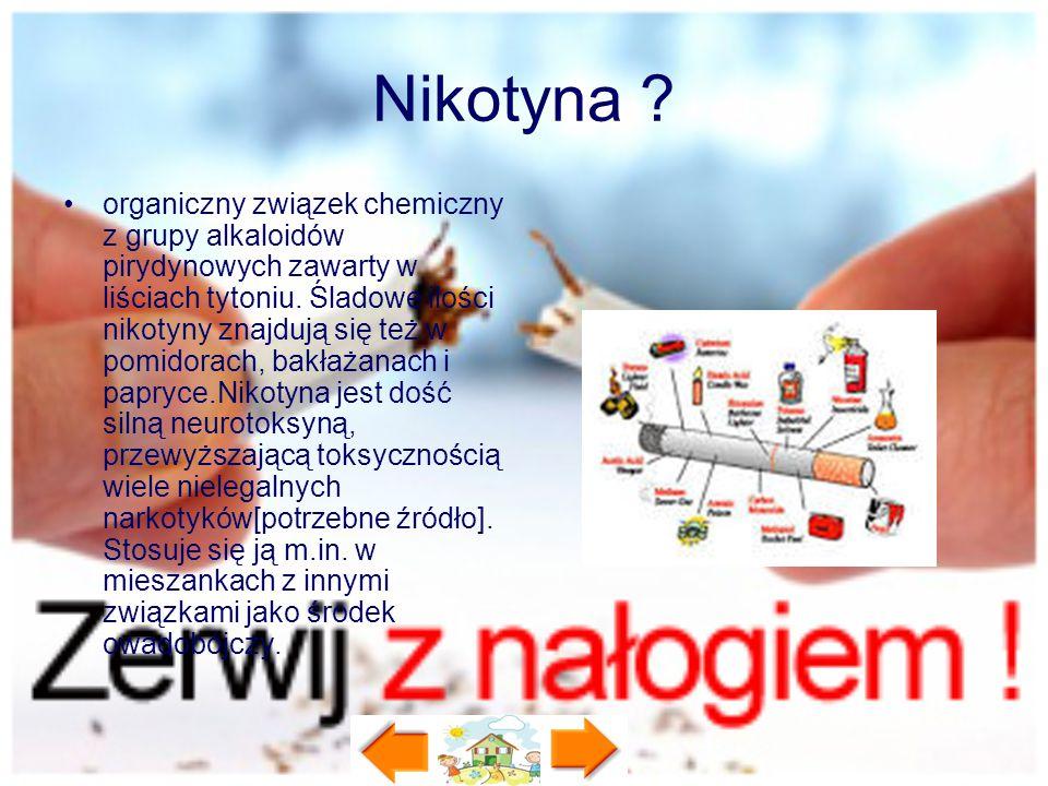 Nikotyna ? organiczny związek chemiczny z grupy alkaloidów pirydynowych zawarty w liściach tytoniu. Śladowe ilości nikotyny znajdują się też w pomidor
